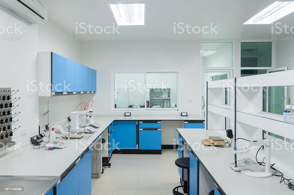 Science modern lab interior architecture. stock photo