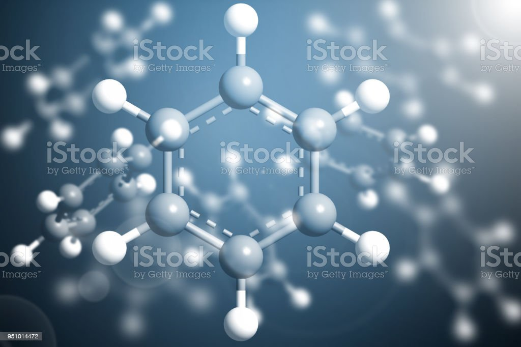 Science Molecule Benzene Model Structure background stock photo