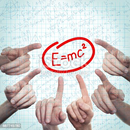 1168035793 istock photo Science or Education Background with Hand and Formulas on Student Page 687749780
