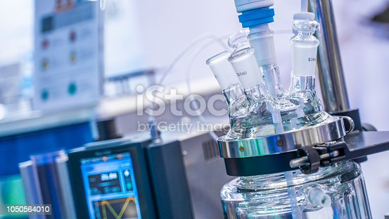 Chemical Glass Reactor For A Chemical Reaction In Science Laboratory
