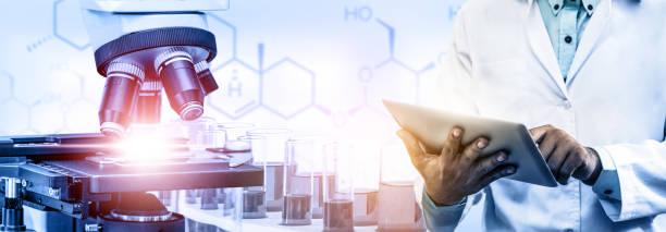 science research and development concept. - ricerca scientifica foto e immagini stock