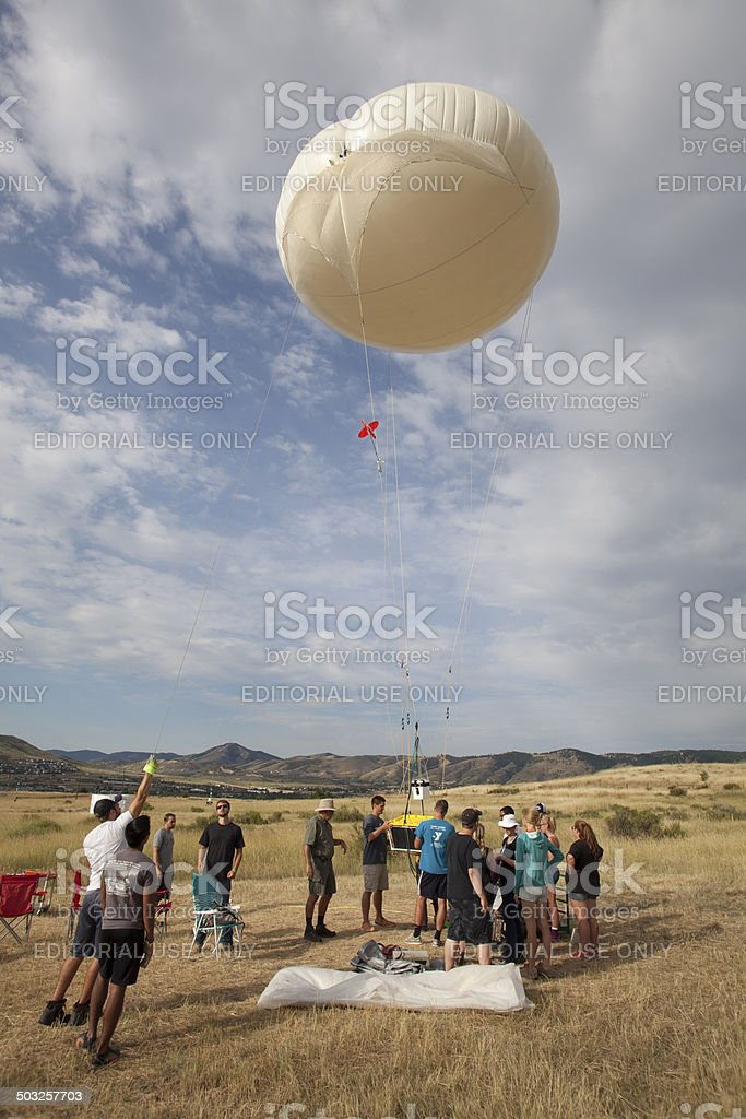 Science Team Prepares Weather Balloon Golden Colorado Stock