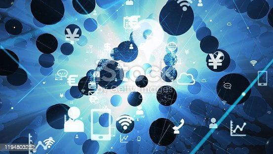 698054674 istock photo Science technology concept. IoT (Internet of Things) concept. Communication network. 1194803232
