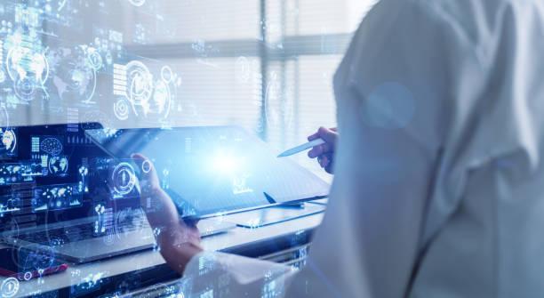 concepto de tecnología científica. laboratorio. examinación. investigación. - inteligencia artificial fotografías e imágenes de stock