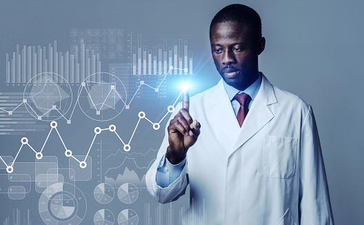 Science technology concept. Scientific examination. Scientist.
