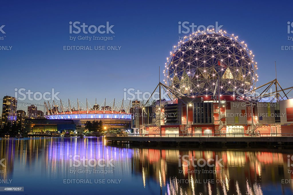 Science World and BC Place Stadium in Vancouver, British Columbia stock photo