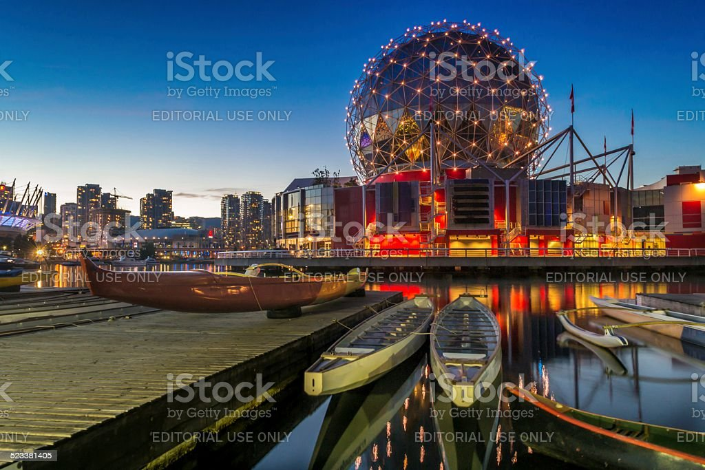 Science World and Dragon Boats stock photo