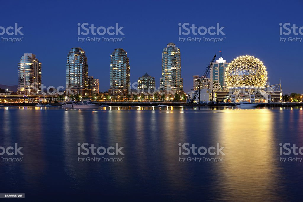 Science World relections at sunset stock photo