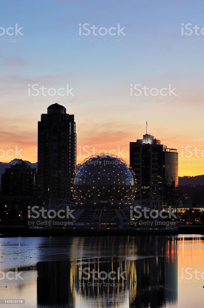 science world vancouver at sunrise stock photo