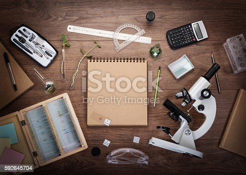 istock Scientific accessories on the table. 592645704