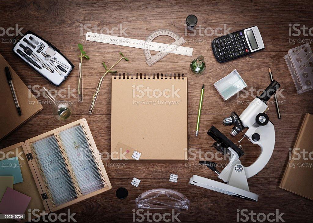 Scientific accessories on the table. ストックフォト