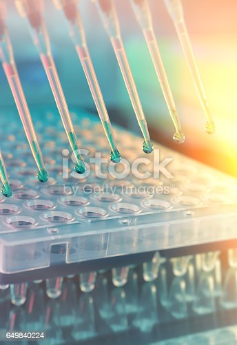 istock Scientific background. Multichannel pipette tips for DNA analysis 649840224