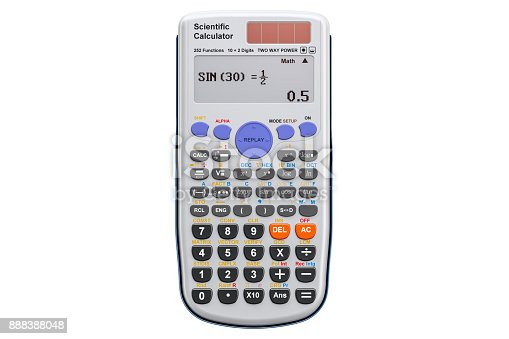 istock Scientific calculator, 3D rendering  isolated on white background 888388048