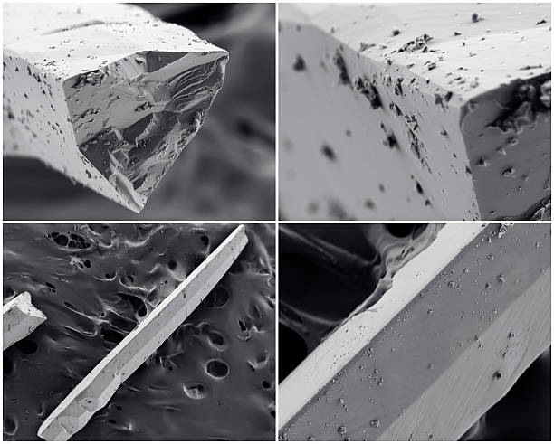 Scientific collage. Crystal photo from electron microscope stock photo