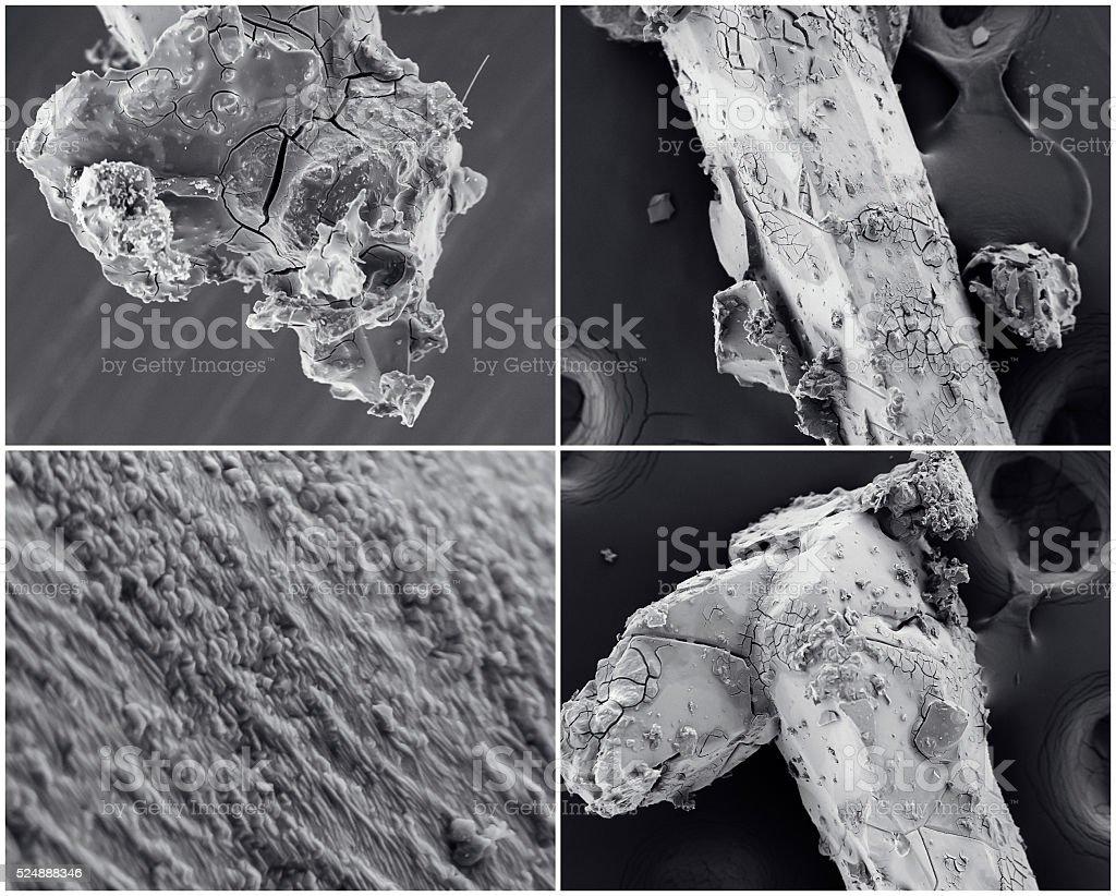 Wissenschaftliche collage. Crystal Foto von Elektronenmikroskop – Foto