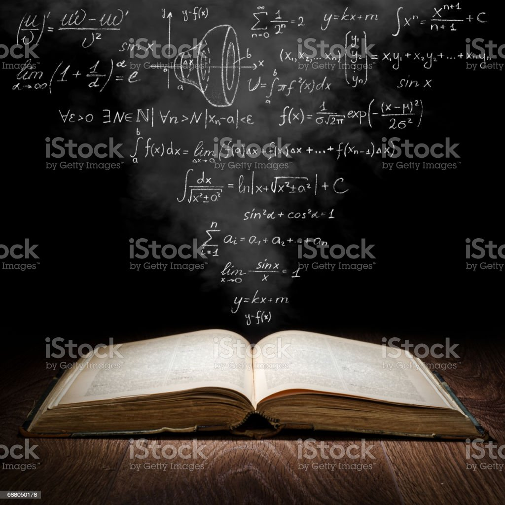 Scientific concept An open book from which mathematical formulas fly out Black Background Stock Photo