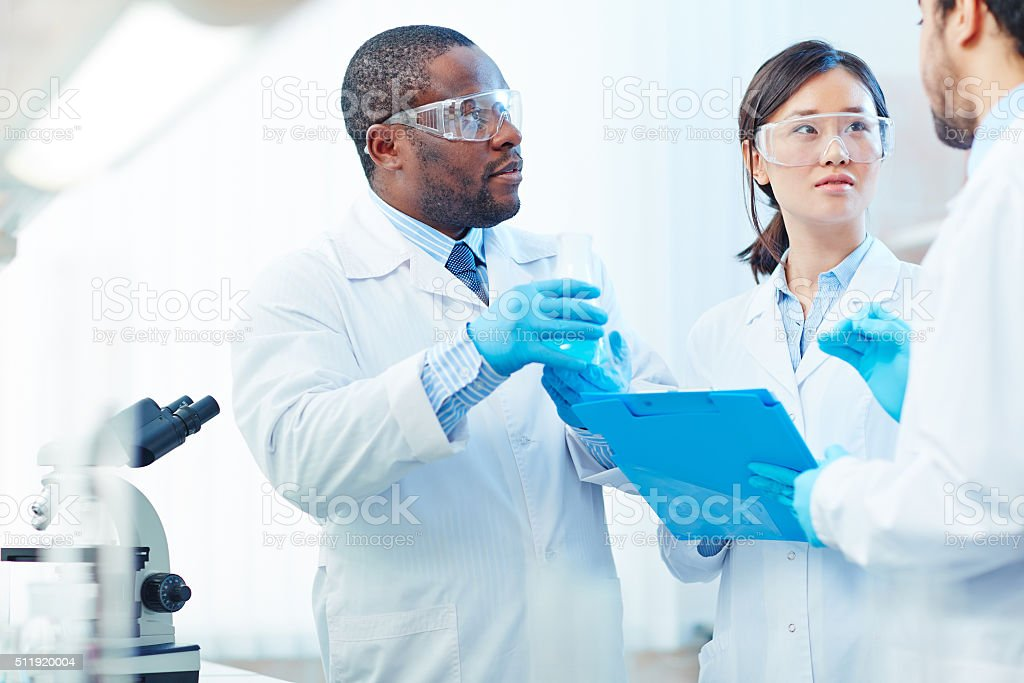 Scientific discussion stock photo