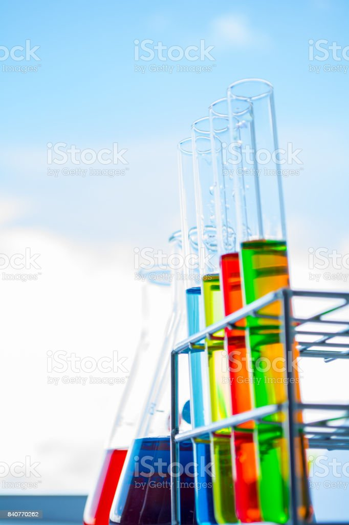 Scientific experiments on the table with a natural background. stock photo