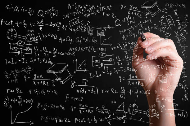 Scientific formulas and calculations in physics and mathematics stock photo