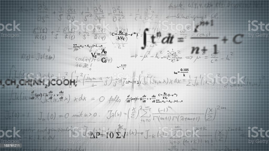 Scientific formulas on a graph background royalty-free stock photo