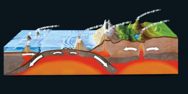 scientific ground cross-section to explain subduction and plate tectonics - 3d illustration - crosta geologia foto e immagini stock