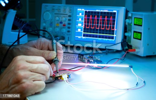 483784268 istock photo Scientific hands experimenting with monitors and electrodes 177861043