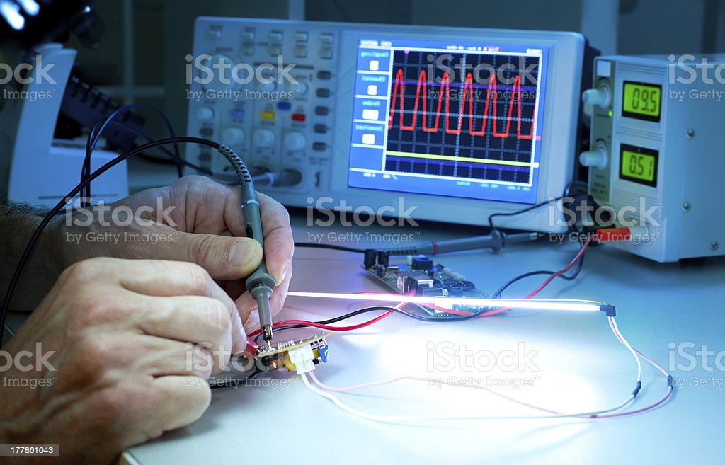 Scientific hands experimenting with monitors and electrodes stock photo