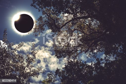 istock Scientific natural phenomenon. Total solar eclipse with diamond ring. 822293414