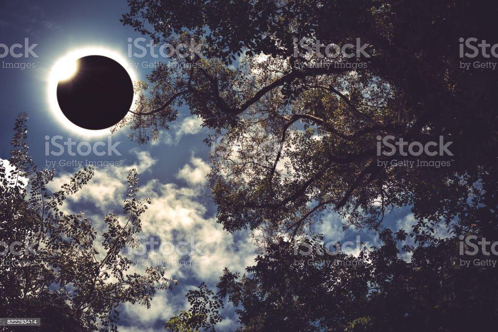 Scientific natural phenomenon. Total solar eclipse with diamond ring. stock photo