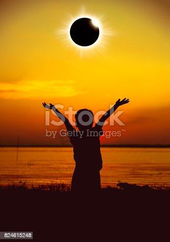 istock Scientific natural phenomenon. Total solar eclipse with diamond ring effect. 824615248
