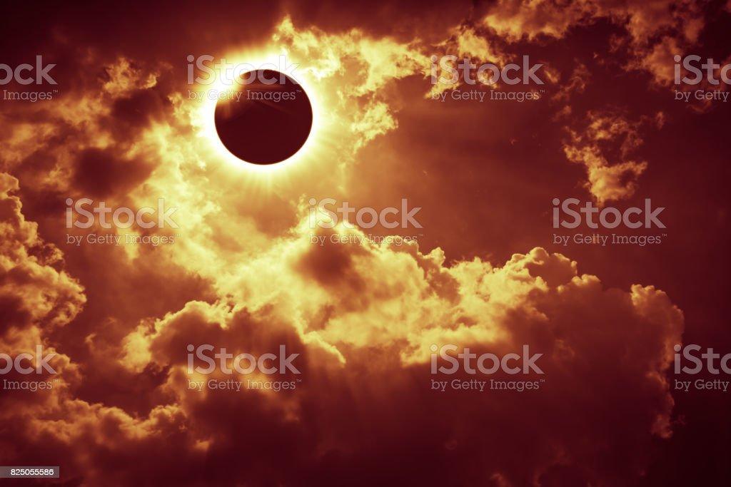 Scientific natural phenomenon. Total solar eclipse with diamond ring effect. stock photo