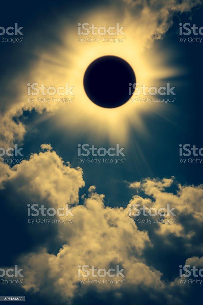 Scientific natural phenomenon. Total solar eclipse with diamond ring effect stock photo