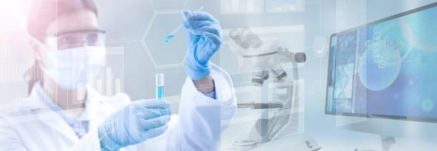 scientific research concept background - ricerca scientifica foto e immagini stock