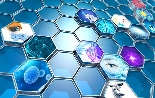 scientific research concept hexagonal backdrop