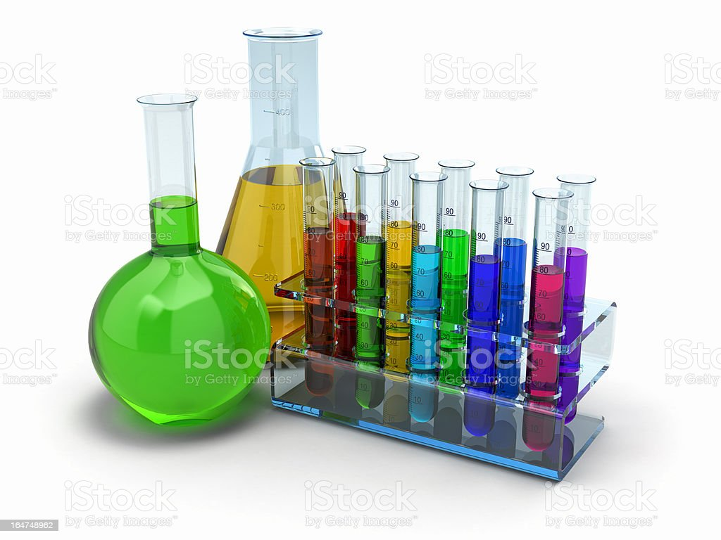 Scientific research. Glass test tubes with reagent royalty-free stock photo