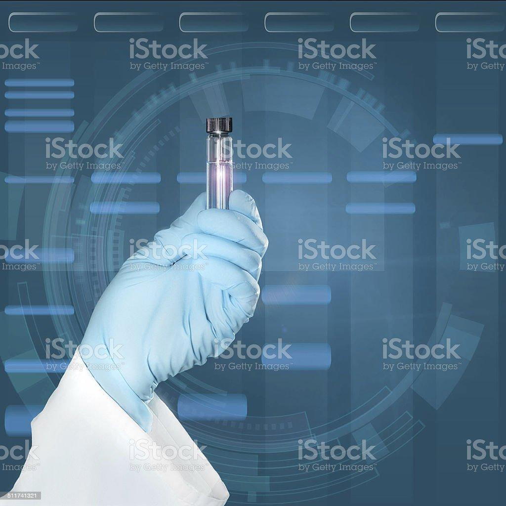 Scientific sample in gloved hand stock photo