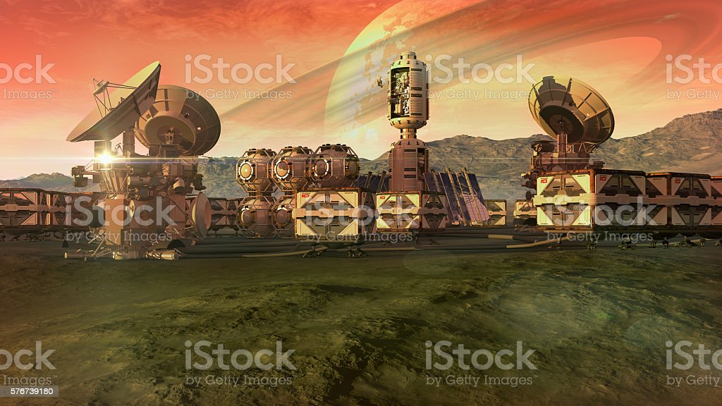 Scientific settlement on an arid planet stock photo