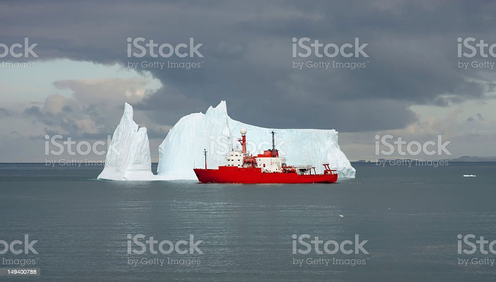 Scientific ship on a mission in Antarctica stock photo