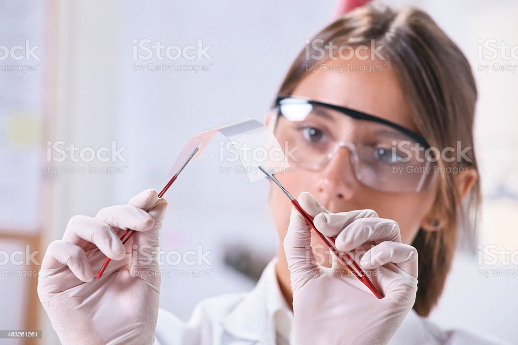 Scientific showing a piece of graphene. stock photo
