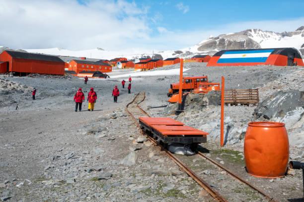 Scientific station on Antarctica stock photo