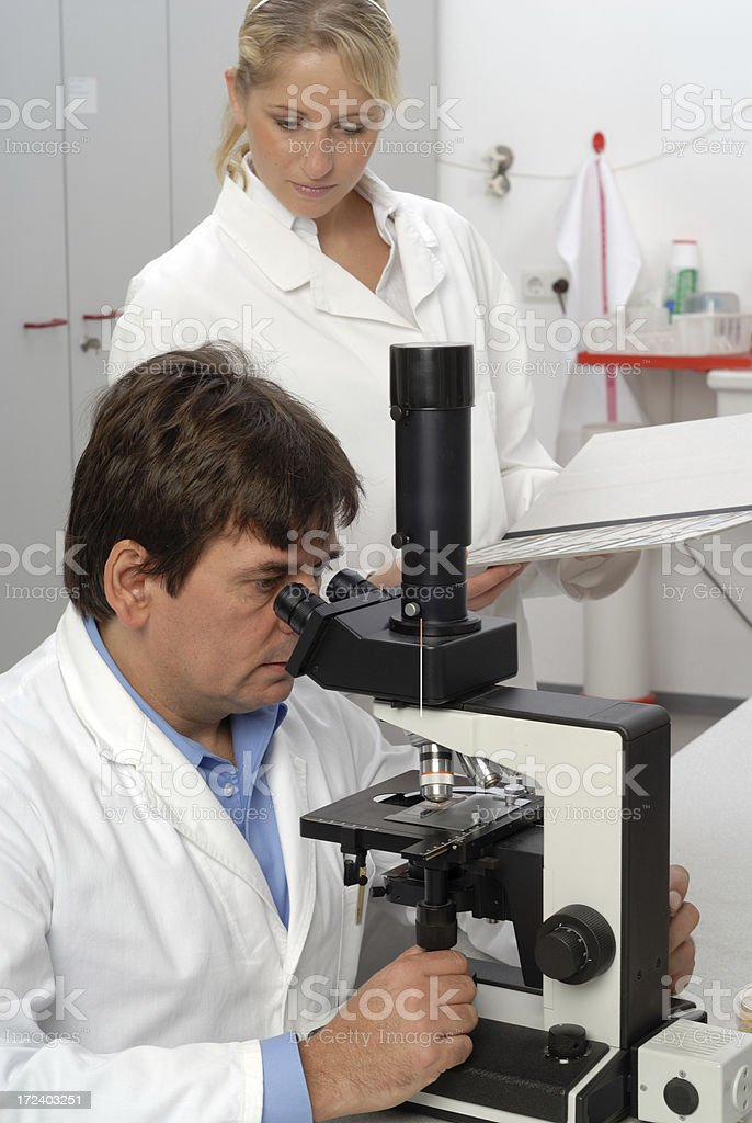 Scientist and assistance royalty-free stock photo