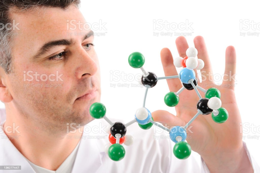 Scientist and flying molecular structure royalty-free stock photo