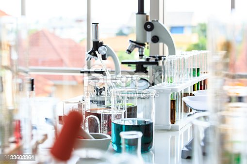 istock Scientist and medical test tools in lab 1133603364
