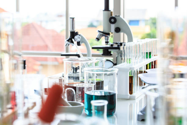 scientist and medical test tools in lab - laboratory glassware stock pictures, royalty-free photos & images