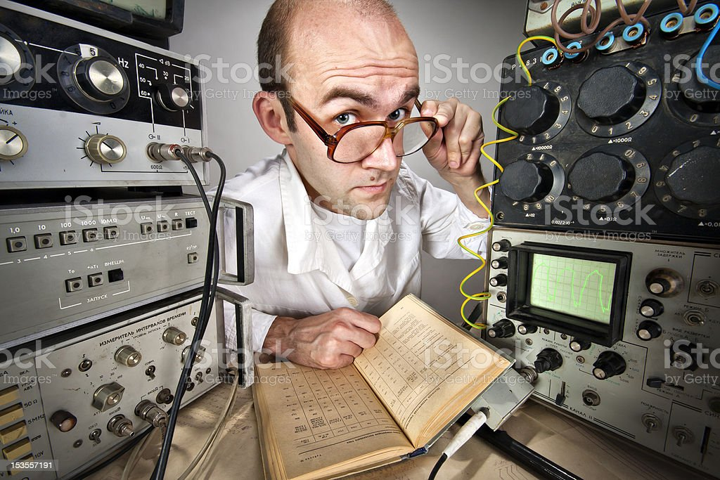 Scientist at vintage laboratory royalty-free stock photo