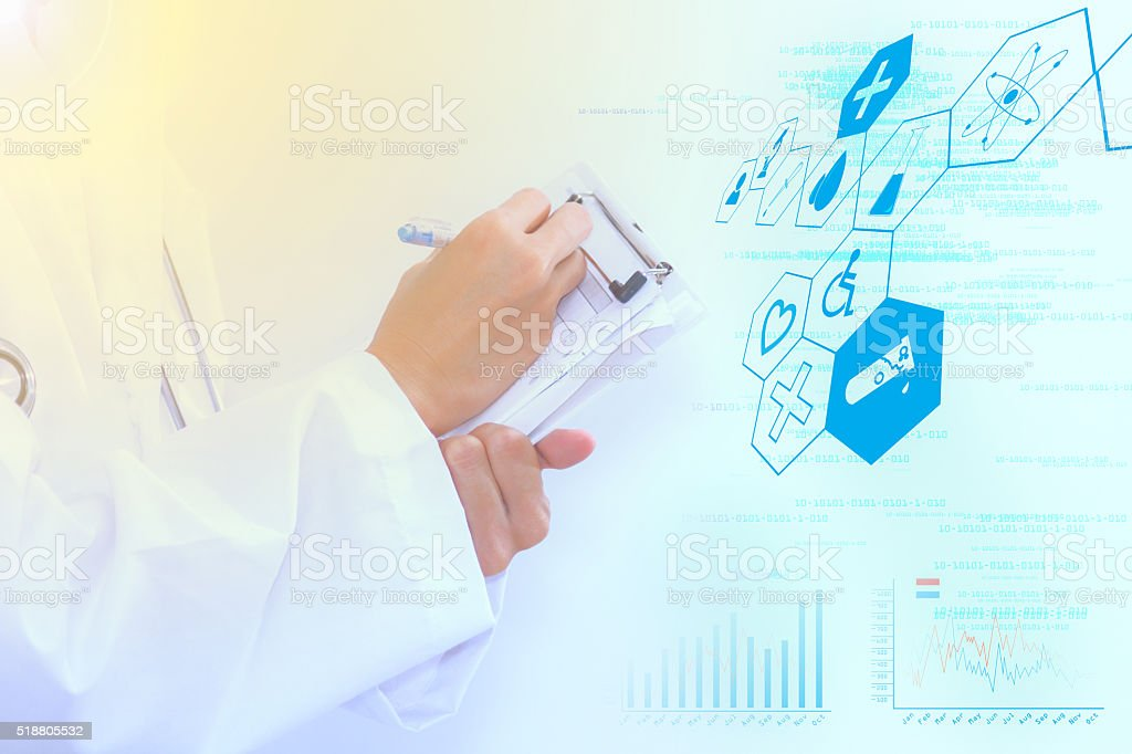 scientist checklist for analysis and concept. stock photo