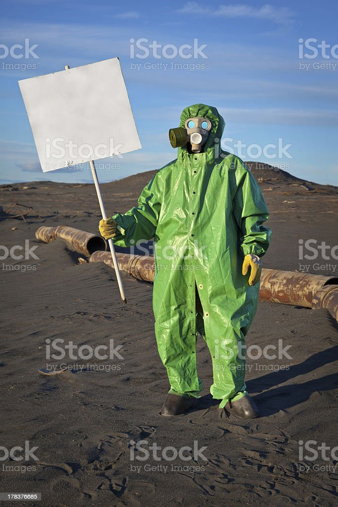 Scientist chemist with a placard royalty-free stock photo