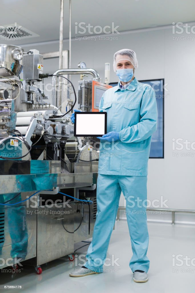 scientist configure stand with empty tablet royalty-free stock photo