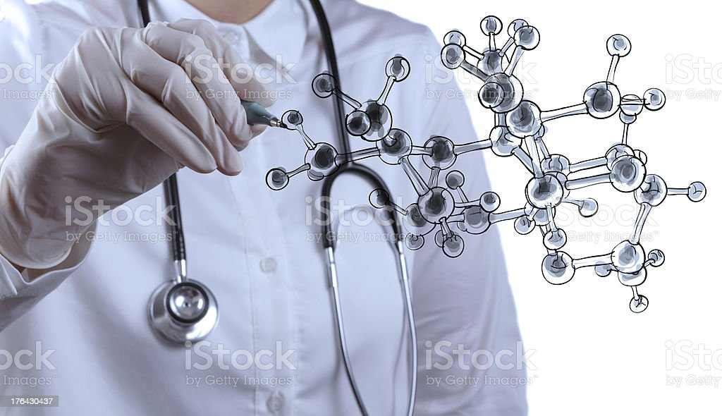 scientist doctor hand draws virtual molecular structure royalty-free stock photo
