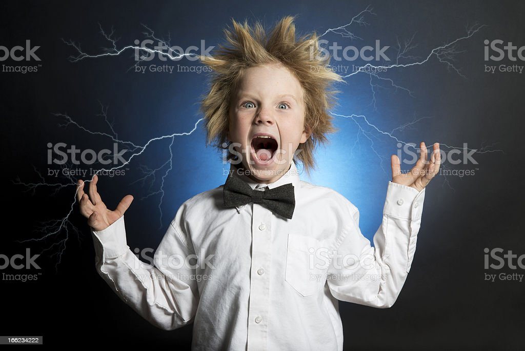 Scientist Electrified royalty-free stock photo